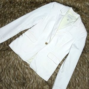 Banana Republic White Cotton Single Button Blazer